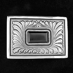 "MONTEZUMA 1 1/2"" ENGRAVED STERLING AND ONYX TROPHY BUCKLE"
