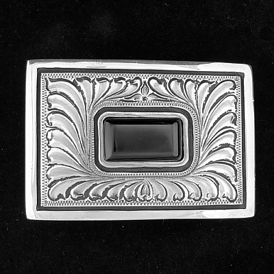 "MONTEZUMA 1 1/2"" FEATHER ENGRAVED STERLING BUCKLE WITH BLACK JADE CENTER"
