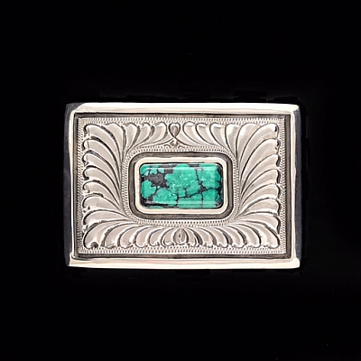 "MONTEZUMA 1 1/2"" TROPHY BUCKLE FEATHER ENGRAVED WITH TURQUOISE"