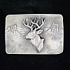 MULE DEER TUMBLED SILVER TROPHY BUCKLE