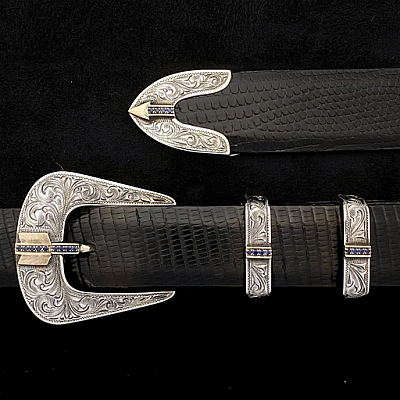 "ORMS HASKEL 1819 1"" STERLING BUCKLE SET W 14K YELLOW GOLD ARROW PAVED WITH 1.5MM SAPPHIRES, ENGRAVED 4 PCS"