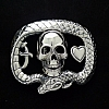 SNAKE SKULL HEART AND DAGGER STERLING SILVER TROPHY BUCKLE