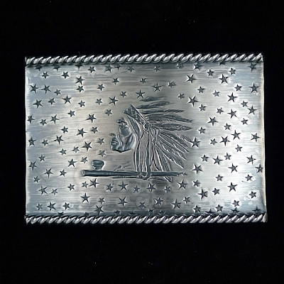 STARR 1812 INDIAN AND STARS ROPE EDGE TROPHY BUCKLE