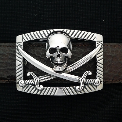 STERLING PIRATE SKULL BUCKLE
