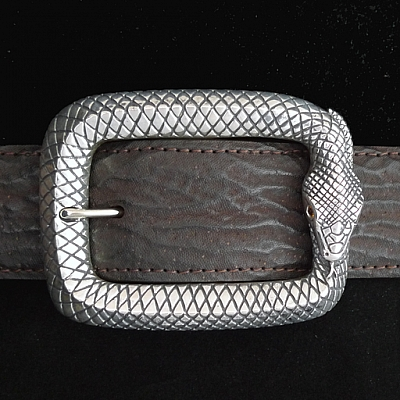 STERLING SILVER OUROBOROS SNAKE BUCKLE WITH SPESSARTITE EYES