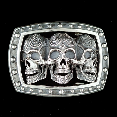 STERLING SILVER TRIPLE SUGAR SKULL TROPHY BUCKLE