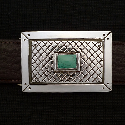 TURQUOISE CENTER STERLING SILVER PICTURE FRAME TROPHY BUCKLE