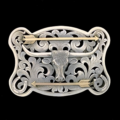 WEBB 1821 FILIGREE TROPHY BUCKLE WITH LONGHORN STEER AND 14K GOLD ARROWS
