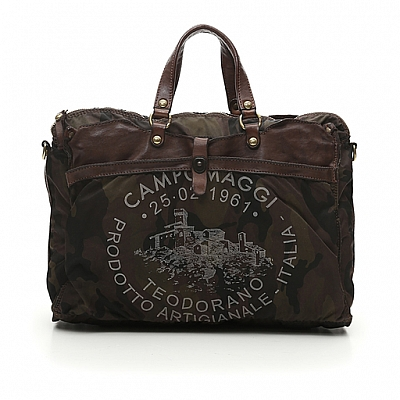CAMO CANVAS + BROWN LEATHER BRIEFCASE CARRIER BAG