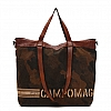 CAMO CANVAS DUAL HANDLE SHOPPER IN COGNAC