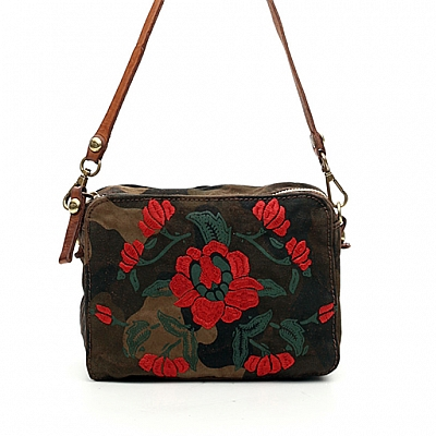 CAMO CANVAS WITH ROSE PRINT SMALL BOWLING BAG IN COGNAC