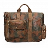 CAMO LEATHER POCKET FRONT CARRIER BAG IN MILITARE