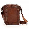 CAMO LEATHER VERT ZIP CROSSBODY SATCHEL IN COGNAC