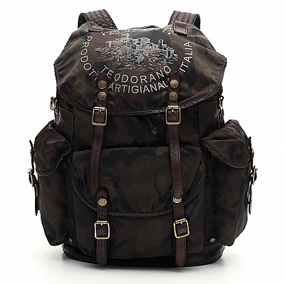 CAMO NYLON AND LEATHER BACKPACK