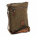CANVAS & LEATHER PATCH CROSSBODY IN MILITARE & COGNAC