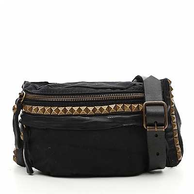 CANVAS PYRAMID STUD + LEATHER LARGE WAIST PACK IN BLACK