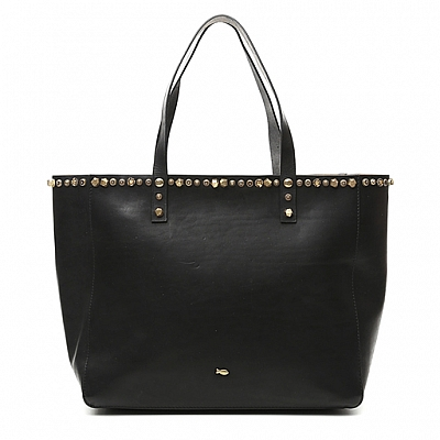 CELESTINA MEDIUM SHOPPER WITH STUD COLLAR IN BLACK