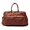 CLASSIC WHEELED LEATHER TROLLEY DUFFLE BAG IN COGNAC