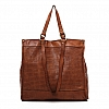 DUAL HANDLE PERFORATED LEATHER TOTE IN COGNAC
