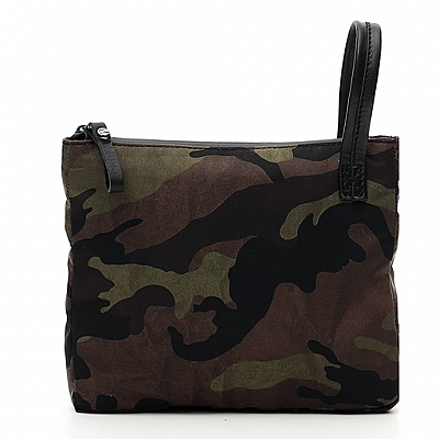 FIRENZE CAMO NYLON + BLACK LEATHER POUCH