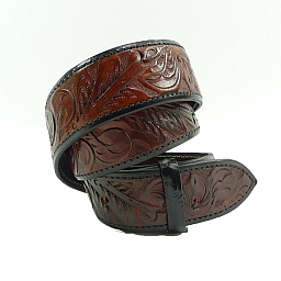 HAND CARVED LEATHER BELT 1 1/2