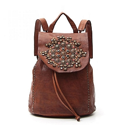 JEWEL STUDDED COGNAC LEATHER BACKPACK