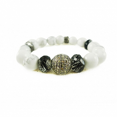 BAD TO THE BONE BIG DIAMOND BEADED BRACELET