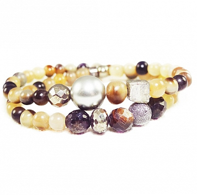 TAHITIAN PEARL AND HORN DOUBLE BRACELET