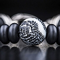 NIGHT DIVE BRAIN CORAL ONYX BEAD STERLING SILVER BRACELET