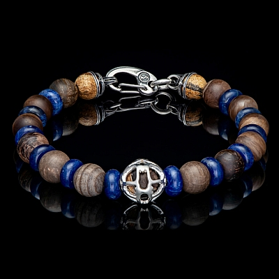 ADVENTURE PETRIFIED WOOD, SODALITE AND STERLING SILVER BRACELET