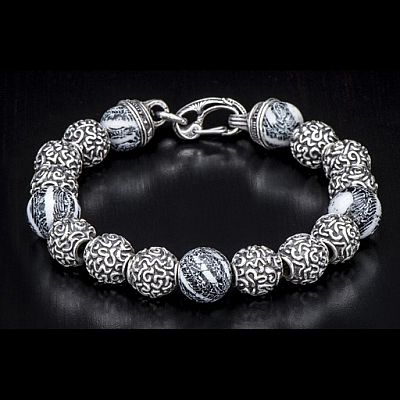 ANDROS STERLING SILVER AND BRAIN CORAL BEAD BRACELET