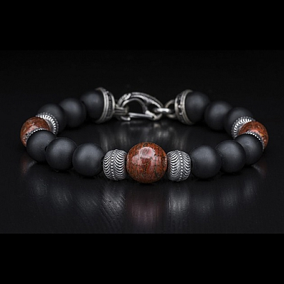 MAGMA DINOSAUR BONE AND BLACK ONYX BEAD BRACELET