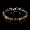 DRAGON FIRE TIGER EYE AND DINOSAUR BONE BEADED BRACELET