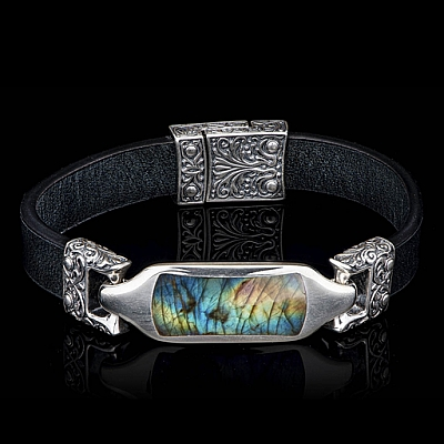 FLORENCE LABRADORITE, STERLING AND LEATHER BAND BRACELET