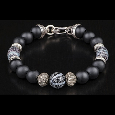 FREE DIVER FROSTED ONYX STERLING SILVER AND BRAIN CORAL BEAD BRACELET