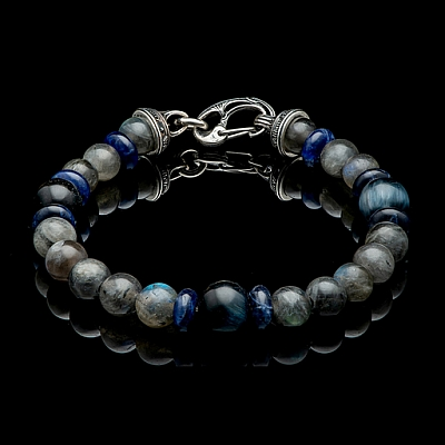 MAGICIAN LABRADORITE, BLUE TIGER EYE AND SODALITE BRACELET