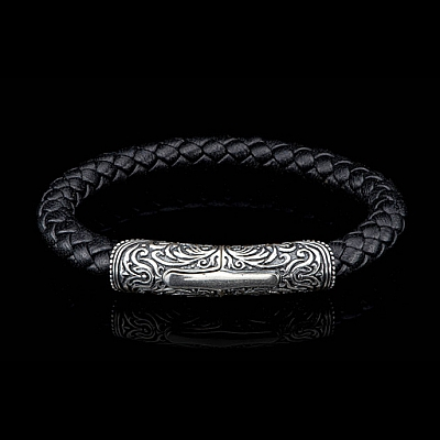 MILAN BRAIDED LEATHER CUFF WITH STERLING SILVER CLASP