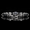 SHIPWRECK SILVER SKULL, FROSTED ONYX & BRAIN CORAL BRACELET