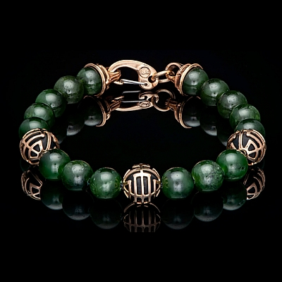 STRENGTH: JADE, 18K ROSE GOLD AND FROSTED ONYX BRACELET