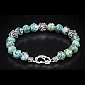 VERDIGRIS STERLING SILVER AND AFRICAN TURQUOISE BEAD BRACELET