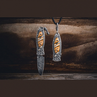 FIRE MAMMOTH TOOTH STERLING PENDANT KNIFE