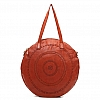 LACED LEATHER MEDIUM ROUND SHOPPER BAG IN COTTO