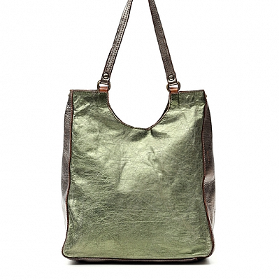 LAMINATED LEATHER SHOPPING TOTE IN GREEN AND BRONZE