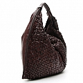 LARGE MORO LEATHER WOVEN HOBO BAG