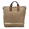 LEATHER HANDLE CANVAS TOTE WITH CROSSBODY RIBBON IN MILITARE