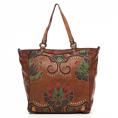 LEATHER LOTUS PRINT TOTE WITH STUDS IN COGNAC