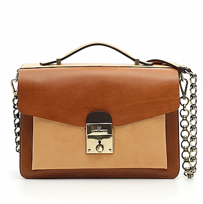 LEATHER TERRA COLOR SMALL BOX BAG WITH CHAIN