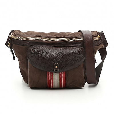 MILITARE CANVAS MORO LEATHER + RIBBON WAIST PACK