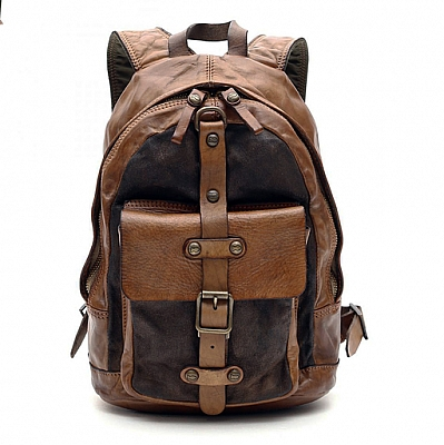 MILITARY LEATHER AND SUEDE SMALL BACKPACK WITH SINGLE EXTERIOR POCKET AND BUCKLE