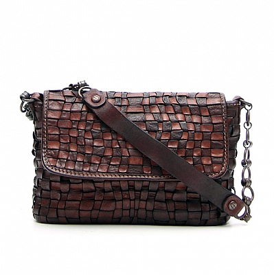 MORO LEATHER WOVEN SHOULDER CLUTCH BAG